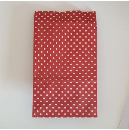Papperspåse prickig röd